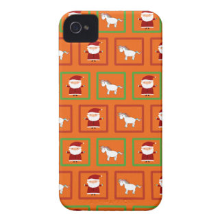 Modelo anaranjado de Papá Noel de los unicornios iPhone 4 Funda