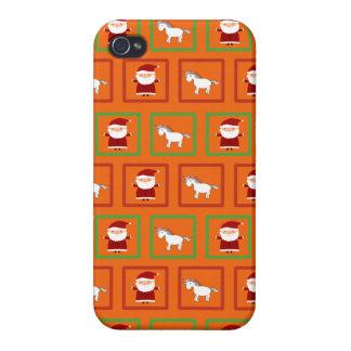 Modelo anaranjado de Papá Noel de los unicornios iPhone 4/4S Carcasas