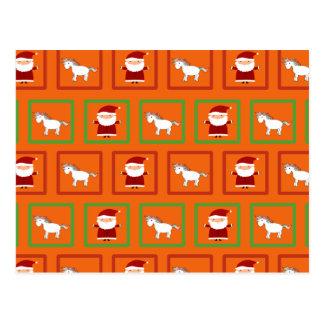 Modelo anaranjado de Papá Noel de los unicornios Tarjeta Postal