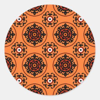 Modelo anaranjado de Suzani Pegatina Redonda