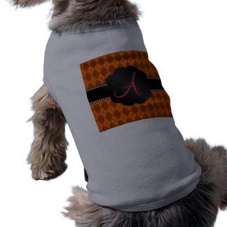 Modelo anaranjado del argyle del monograma camiseta sin mangas para perro