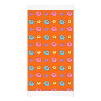 Modelo anaranjado del buñuelo tarjeta fotográfica personalizada