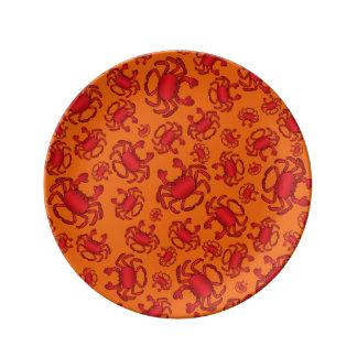Modelo anaranjado del cangrejo platos de cerámica