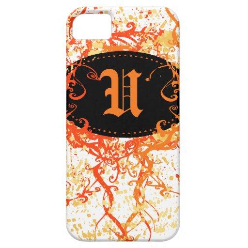 Modelo anaranjado del damasco con la letra U del m iPhone 5 Cárcasa