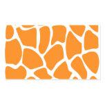 Modelo anaranjado del estampado de girafa plantilla de tarjeta de visita