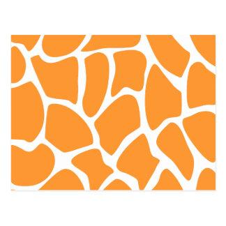 Modelo anaranjado del estampado de girafa tarjeta postal