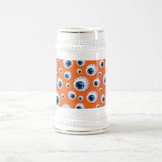 Modelo anaranjado del globo del ojo jarra de cerveza