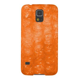 Modelo anaranjado del plástico de burbujas carcasa galaxy s5