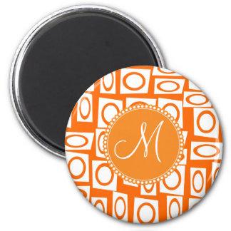 Modelo anaranjado inicial del cuadrado del círculo imán redondo 5 cm