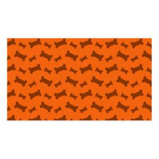 Modelo anaranjado lindo de los huesos de perro plantillas de tarjetas de visita