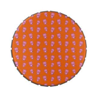 Modelo anaranjado lindo del cerdo jarrones de caramelos