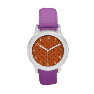 Modelo anaranjado lindo del reno relojes de mano