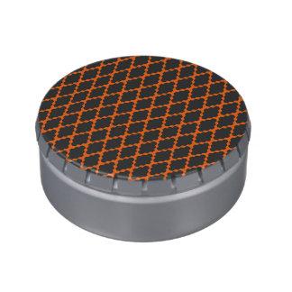 Modelo anaranjado negro a cuadros geométrico de jarrones de caramelos