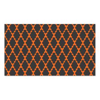 Modelo anaranjado negro a cuadros geométrico de tarjetas de visita