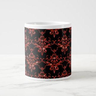 Modelo anaranjado negro del damasco del brillo taza jumbo