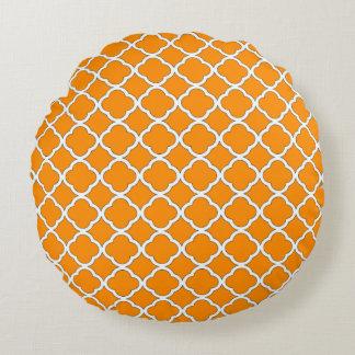Modelo anaranjado oscuro elegante de Quatrefoil Cojín Redondo