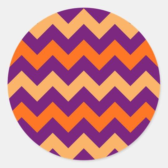 Modelo anaranjado púrpura de Chevron Pegatina Redonda