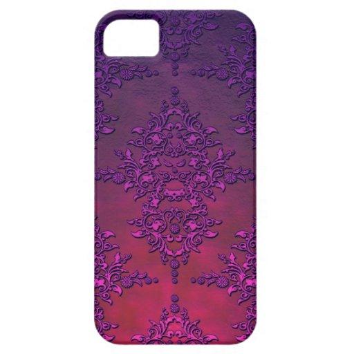 Modelo anaranjado púrpura vibrante del damasco iPhone 5 Case-Mate protector