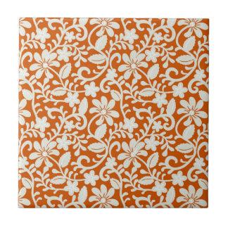Modelo anaranjado quemado damasco floral con clase teja cerámica