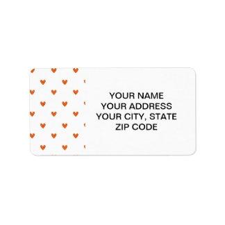 Modelo anaranjado quemado de los corazones del etiqueta de dirección