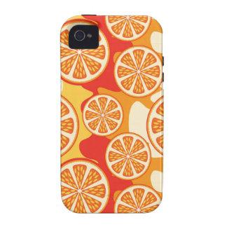 Modelo anaranjado retro de la fruta cítrica iPhone 4/4S fundas
