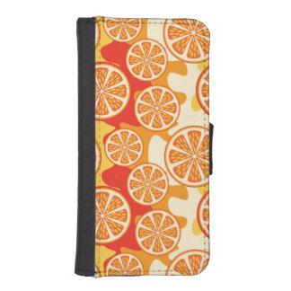 Modelo anaranjado retro de la fruta cítrica fundas tipo billetera para iPhone 5