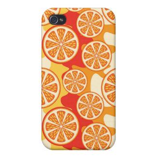Modelo anaranjado retro de la fruta cítrica iPhone 4 funda