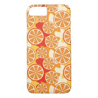 Modelo anaranjado retro de la fruta cítrica funda iPhone 7
