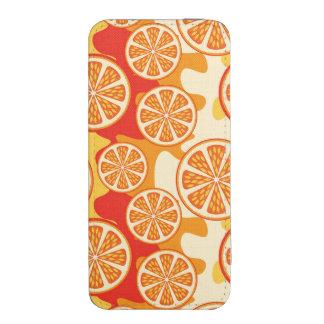 Modelo anaranjado retro de la fruta cítrica funda acolchada para iPhone