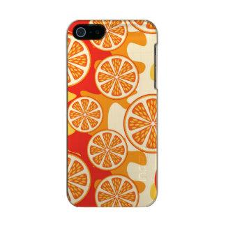 Modelo anaranjado retro de la fruta cítrica funda para iPhone 5 incipio feather shine