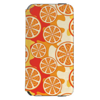 Modelo anaranjado retro de la fruta cítrica funda cartera para iPhone 6 watson