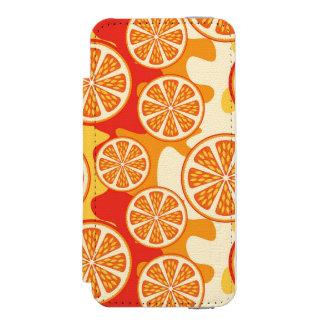 Modelo anaranjado retro de la fruta cítrica funda cartera para iPhone 5 watson