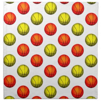 Modelo anaranjado y amarillo del baloncesto servilletas de papel