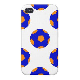 Modelo anaranjado y azul del balón de fútbol iPhone 4 fundas