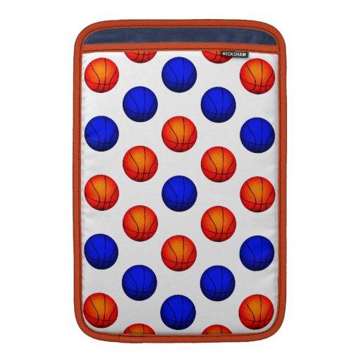 Modelo anaranjado y azul del baloncesto fundas MacBook