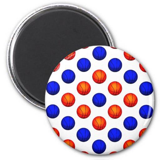 Modelo anaranjado y azul del baloncesto imán redondo 5 cm