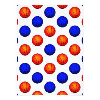 """Modelo anaranjado y azul del baloncesto invitación 5.5"""" x 7.5"""""""