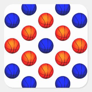 Modelo anaranjado y azul del baloncesto pegatina cuadrada