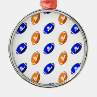 Modelo anaranjado y azul del fútbol adorno navideño redondo de metal