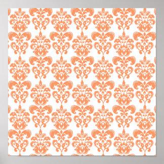 Modelo anaranjado y blanco 2 del damasco del vinta poster