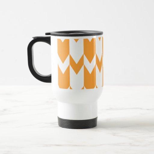 Modelo anaranjado y blanco de Chevron Tazas De Café