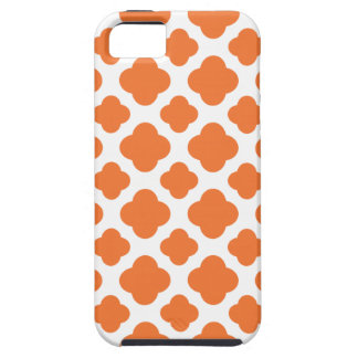 Modelo anaranjado y blanco de Quatrefoil iPhone 5 Carcasa