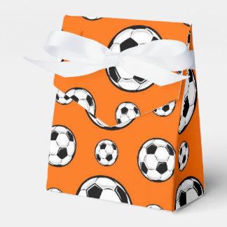 Modelo anaranjado y blanco del balón de fútbol cajas para regalos de boda