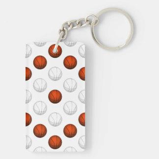 Modelo anaranjado y blanco del baloncesto llavero rectangular acrílico a doble cara