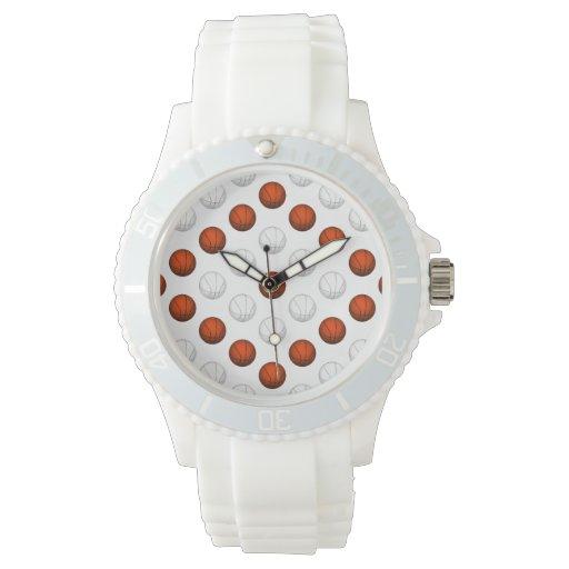 Modelo anaranjado y blanco del baloncesto reloj de mano