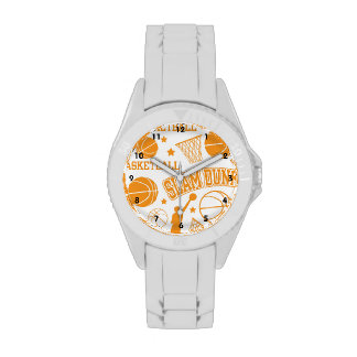 Modelo anaranjado y blanco del baloncesto relojes de mano