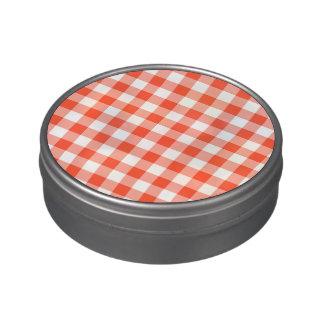 Modelo anaranjado y blanco del control de la jarrones de dulces