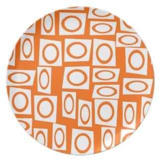 Modelo anaranjado y blanco del cuadrado del círcul plato para fiesta