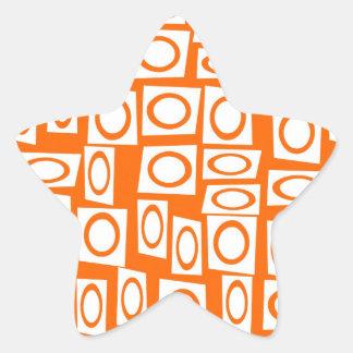 Modelo anaranjado y blanco del cuadrado del pegatina en forma de estrella