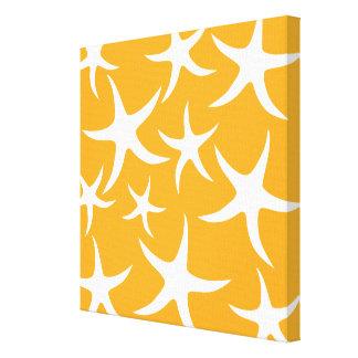 Modelo anaranjado y blanco soleado de las estrella impresión en lienzo estirada